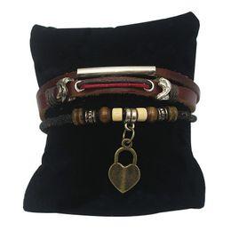 Wholesale Friendship Words - Leather Lace-up Bracelets Couples Lover Leather Friendship Fabric Bracelets Alloy Bracelet with Love Words Key and Heart Pendant