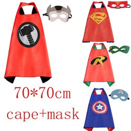 Wholesale Wholesale Capes For Women - Gold Hands 70*70 CM Superhero Capes with Masks - Kids' Robin Spiderman Wonder woman for Kid's Dress up Party Free Shipping