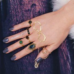 Wholesale Ladies Gold Plated Rings - 5 Pcs Set Antique Gold Imitation Gemstone Lady Finger Rings