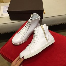 Wholesale Top Brand Name Leather Shoes - Newest Luxury High Top Shoes Knight Autumn Winter Boots Brand Name Mens Cow Leather Ankle Sneakers Snake
