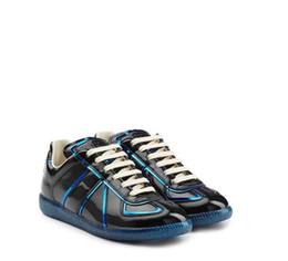 Wholesale Leather Lace Trim - New Version Mens Maison Martin Margiela Kanye West Shine Shoes Patent Leather Patent Leather Sneakers with Metallic Trims