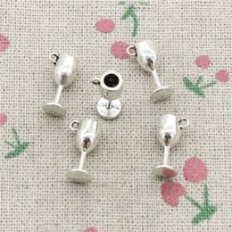 Очарование бокалов онлайн-Подвески бокалы для вина 15*6*6 мм Античное серебро кулон цинковый сплав ювелирные изделия DIY ручной работы браслет ожерелье фитинг