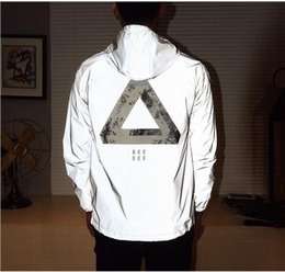 Wholesale Hip Hop Movement - 2017 fashion Men Jacket Spring Autumn Reflective 3m Jacket movement Hip Hop Waterproof Windbreaker Men Coat Fluorescence