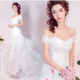 Wholesale Brilliant Trumpet - 2017 New Real Image Brilliant Tiered Skirts Bateau Lace-Up Back Formal Wedding Dress Court Train Country Garden Mermaid Elegant Bridal Gown