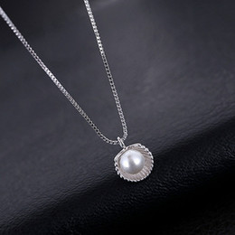 Wholesale Wild Pearl - The unique design jewelry clavicle S925 sterling silver shell pearl necklace for ladies girls wild pendant necklace jewelry Meet marry bride