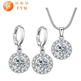 Wholesale Pave Hoops - 5 Colors Zircon Micro Pave Jewelry Sets for Women Silver Plated Round Cubic Zircon Necklace Hoop Earrings Wedding Jewelry Sets