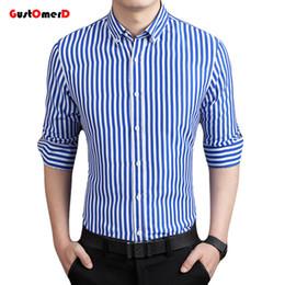 Wholesale Long Sleeve Strip Dress - Wholesale- GustOmerD New Fashion Brand Strip Casual Men Shirt Long Sleeve Slim Fit Shirt Men Business Mens Dress Shirts