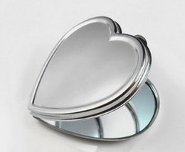 Wholesale Heart Shaped Compact Mirrors - 200pcs DIY Metal Pocket Mirror Makeup Fold Heart Shape Blank Compact Portable Mirror For Personalized Wedding Party Favor