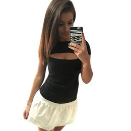 Wholesale Open Flare - Wholesale- 2016 Women Sexy Open Chest Shirt Cotton Short-sleeve Elastic T-shirt for Women Lady Tops