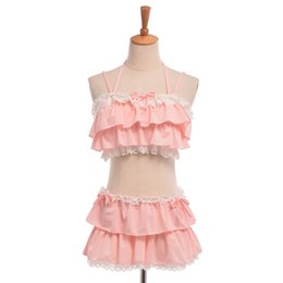 Wholesale Japanese Lolita - Sexy Pink Black Bikini Swimwear Tops+Skirt Two-piece Set Cute Girls Ruffles Lolita Swimsuit Japanese Style S M L
