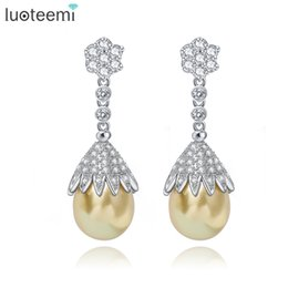 Wholesale Vintage Yellow Earrings - LUOTEEMI Vintage Jewelry Big Grey Yellow White Imitation Pearl Drop Earrings Statement Tiny CZ Crystals Flower Brincos For Party