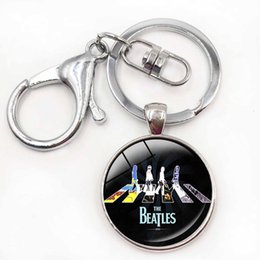 Wholesale Vintage Car Glass - Beatles Keychain Rock In Roll 50's Beatles Key Chains Glass Cabochon Photo Customize Music Trendy Vintage Car Keyrings