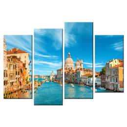 Cuadros del panel paisaje online-4 Paneles Paisaje Pinturas sobre lienzo Arte de la pared Imágenes de paisajes de Venecia Impresión en lienzo Obras de arte para la decoración casera con marco de madera