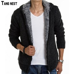 Wholesale Men Winter Sweater Fur - Wholesale- TANGNEST 2017 New Arrival Men's Fashion Solid Thick Warm Sweater Male Casual Hooded Winter Wear Fur Lining Sweater MZM179