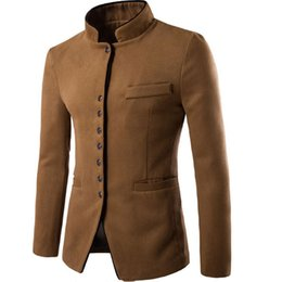 Wholesale Chinese Wool Jacket - Wholesale- Jacket Men Winter 2017 Coat Male Bomber Jacket Men Wool Chinese Tunic Suit Brand Outwear Mens Cotton Jackets Clothing XXL