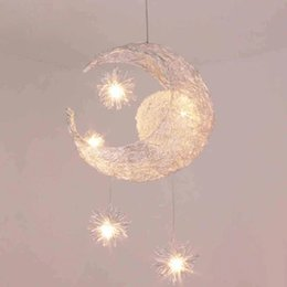Wholesale Moon Light Chandelier - LED G4 light source, Moon & Star - modern Children Kid Child Bedroom novelty Pendant Lamp Chandelier Light Ceiling Aluminum