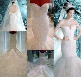 Wholesale Michael Cinco Wedding Gowns - Michael Cinco Wedding Dresses 2017 Vintage Pearls Lace Appliques Off the Shoulder Sheer Backless Luxury Mermaid Wedding Dress Bridal Gowns