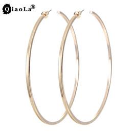 Wholesale Big Red Hoop Earrings - Wholesale- Gold Silver Big Circle 75mm Hoop Earrings Women Jewelry Accessories Large Round Loop Earring 1pairs Free Shipping 2017 Punk Gift