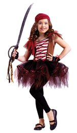 Wholesale Kids Costumes Girl Pirate - new arrival caribbean pirate costume girls party cosplay for children kids Halloween Christmas Captain clothes costume