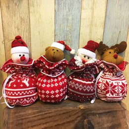 Wholesale money tree decoration - Christmas Woven Bag Santa Claus Elk Bear Cute Gift Bag with Drawing Strings Hanging Candy Money Bag Tree Decoration 001