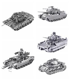 Wholesale German Army Military - DIY 3D Metal Puzzles for children Adults Model Jigsaw Metal Army T90 Tank German Tiger Tank Puzzle Metal Micro Model Gift