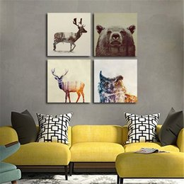 Wholesale Kids Animal Canvas Art - Watercolor Nordic Animal Lion Bear Panda Art Prints Poster Hipster Wall Picture Canvas Painting Kids Room Home Decor