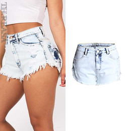 Wholesale Girls High Waisted Denim Shorts - 2017 Womens Summer Blue High Stretch Hole Ripped high waisted Jean shorts Casual Cotton Cute Hot Bleached Denim Shorts for Girls on Sale