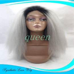 Wholesale Kinky Straight Synthetic Lace Wigs - grey baby hair wigs yaki Kinky Straight ombre two tone Heat Resistant Fiber Hair Glueless Straight Synthetic Lace Front Wigs For Black Women