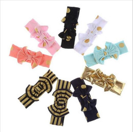 Wholesale Infant Girl Headwraps - Girls Gold Dot Headband Baby Knot Sequins Hairband Kids Bow Headbands Children Polka Hair Bands Infant Headwraps Hair Accessories YYA245