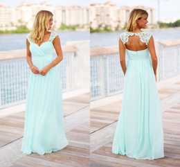 Reich taille chiffon brautkleider online-Custom Made Mint Green Lange Brautjungfer Kleider Reich Taille Open Back Lace Chiffon Plus Size Strand Hochzeitsgast Formelle Kleider Partykleid