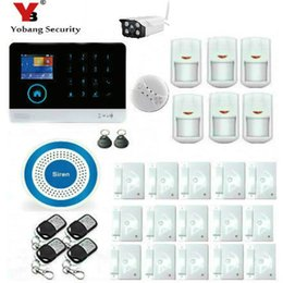 Wholesale Outdoor Siren Gsm - Wholesale- YobangSecurity Wireless WIFI GSM GPRS Home Security System Alarm Wireless Outdoor IP Camera Siren Smoke Detector iOS Android App