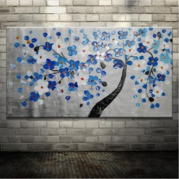 Wholesale Tree Life Abstract Hand - Hand-painted Wall Art Pictures Palette Knife Tree Flowers Oil Painting On Canvas Abstract Wall Decor Frameless Canvas