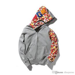 Wholesale Sweater Zip - Teenager Hot Black Gray Shark Hoodies Men's Cartoon Print Sweater Jacket WGM Full Zip Hoodie Fleece Cardigan Sweatshirt Coat