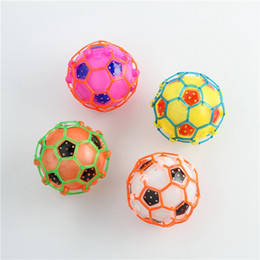 Wholesale Flashing Bouncing Kids Balls - Flash LED Dance Football Ball Baby Toys LED Light Flashing Bounce Ball children creative dancing bouncing ball with rope Kids Gift