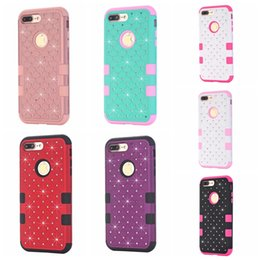 Wholesale Iphone Diamond Gel Case - 3 in 1 Diamond Crystal Rhinestone Hybrid Plastic Shockproof Dual Color Hard Silicone Gel Case For Iphone 7 Plus 6 6S SE 5 5S Armor cover
