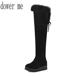 Wholesale Sexy Ribbon Shoes - 2018 fashion ladies' snow boots winter villi long legs women's shoes sexy warm boots big size 34-43