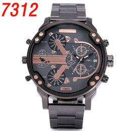 Wholesale Big Dial Mens Watches - Dual Clocks Working Mens Watches Sport Big Dial Top Brand Quartz Gold Luxury Watch Full Stainless Steel band Auto Date Wristwatches For Men