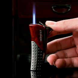 Wholesale Christmas Cigarette Lighters - Wholesale- 5pcs lot new arrive Cool gas lighter metal butnae windproof Lighter torch isqueiro LIGHTER with box for men as christmas gift