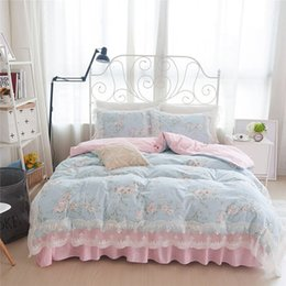 Wholesale Elegant Girl Bedding Sets - Flower Printed Home Textile Elegant Lace Princess Bedding Set Cotton 4pcs Girls Duvet Cover Bedspread Bed Skirt Pillowcases