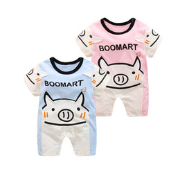 Wholesale Girls Pig Clothing - 2017 baby boy girl clothing romper newborn one-piece jumpsuits infant bodysuits cotton short sleeve pig kid clothes wear summer