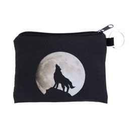 Wholesale Moon Wallet - Wholesale- Wolf moon black New Fashion Women Coin Wallets High Quality Storage Coin Bag Kids Money Pouch Female Coin Purses Wholesale