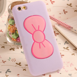 Wholesale Iphone 5s Bow - Case For iPhone 5 5S 5SE Fashion Lovely 3D Bow-knot Soft Silicon Case For iPhone 5 5S 5SE Candy Color Stand Holder Cover