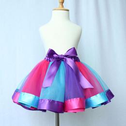 Wholesale Girls Rainbow Yarn Dress - 2016 New Popular baby girl Tutu skirt beautiful rainbow color Net Yarn Princess skirt for girls Dress-up Stage Performance wear