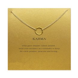 Wholesale Karma Circle - karma Double chain Circle necklace plated gold color Pendant necklaces Fashion Clavicle Chains Statement Necklace Women Jewelry