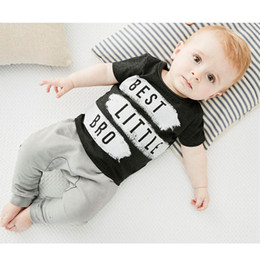 Wholesale New Boys Sets - New INS Baby Boys Letter Sets Top T-shirt+Pants Kids Toddler Infant Casual Short Sleeve Suits Spring Children Outfits Clothes Gift