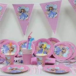 Wholesale Birthday Paper Plates Wholesale - Wholesale- 61pcs lot cartoon sofia princess paper plate cup napkin banner kids birthday party decoration festival supplies favor 20 people