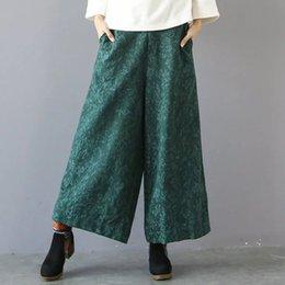 Wholesale Legging Pant Navy Women - Summer Fashion Wide Leg Floral Jacquard Women Cotton Linen Pants, Red Green Black Navy Blue Flower Ankle Length Plus Size Capris