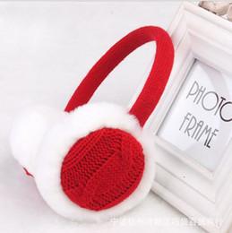 Wholesale Trimmer Line Wholesale - Winter Adult Knitted Fur Plush Earmuffs for Women Lined Trim Acrylic Folding Ear Muffs Earlap Warmer Headband