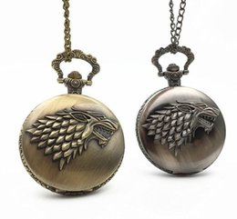 Wholesale Gothic Pocket Watch - Gothic Movie Game of Thrones Pocket Watch Necklace Steampunk Men With Chain House of Stark Black Wolf Pendant Game Jewelry Gift