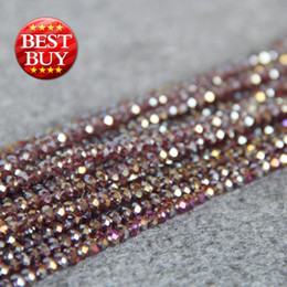 Wholesale Crystal Glass Faceted Stones - New Necklace&Bracelet Accessories 3X4mm Faceted Purple AB+ colorful glass Crystal stones Jasper Jade beads loose 15inch Jewelry